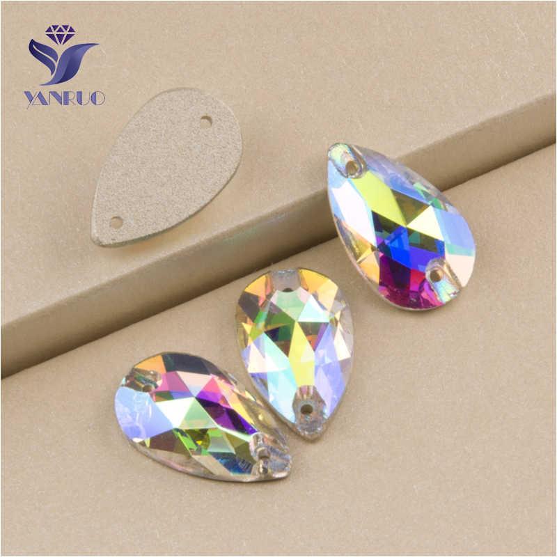 YANRUO 3230, все размеры, AB Drop, высокое качество, пришитые камни, стразы с плоской задней стороной, кристалл, сделай сам, стеклянные стразы для рукоделия