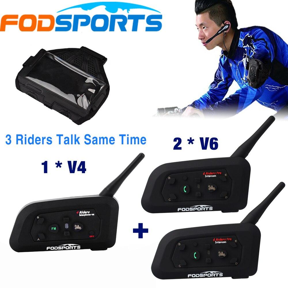 Fodsports Arbitro Citofono BT Interphone 3 Piloti parlare allo stesso tempo per il Calcio Giudice Della Bici Auricolare Bluetooth Senza Fili