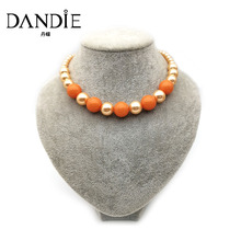 Dandie Orange Color Imitation Pearl And Acrylic Bead Necklace For Women, Fashionable Popular Simple Design Jewelries fashionable women s satchel with zipper and embossing design