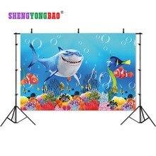 SHENGYONGBAO Art Cloth Custom Photography Backdrops Prop Cartoon Big shark  theme Photo Studio Background W19329-43 цена