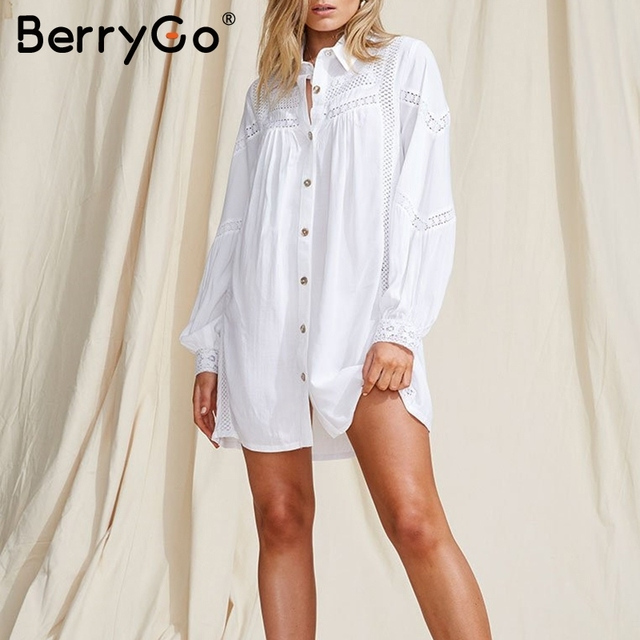 BerryGo Long sleeve beach cover up blouse women Sexy white hollow out female cotton blouse shirts Holiday swimsuit cover-up tops 5
