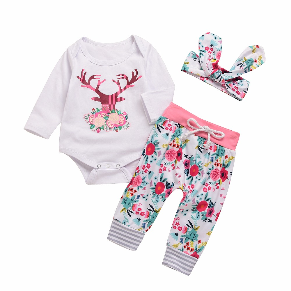 Hot Sales Newborn Baby Girls Clothes Deer Print Romper Top Floral Pant Leggings Headband Outfit 3Pcs Cute Kids Playwear Costumes