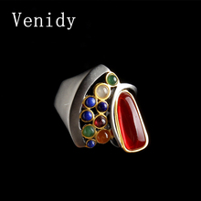 Venidy High Quality Natural Opal Ring Multi-Colored Vintage Resizable Female 925 Sterling Silver Fine Jewelry Rings For Women