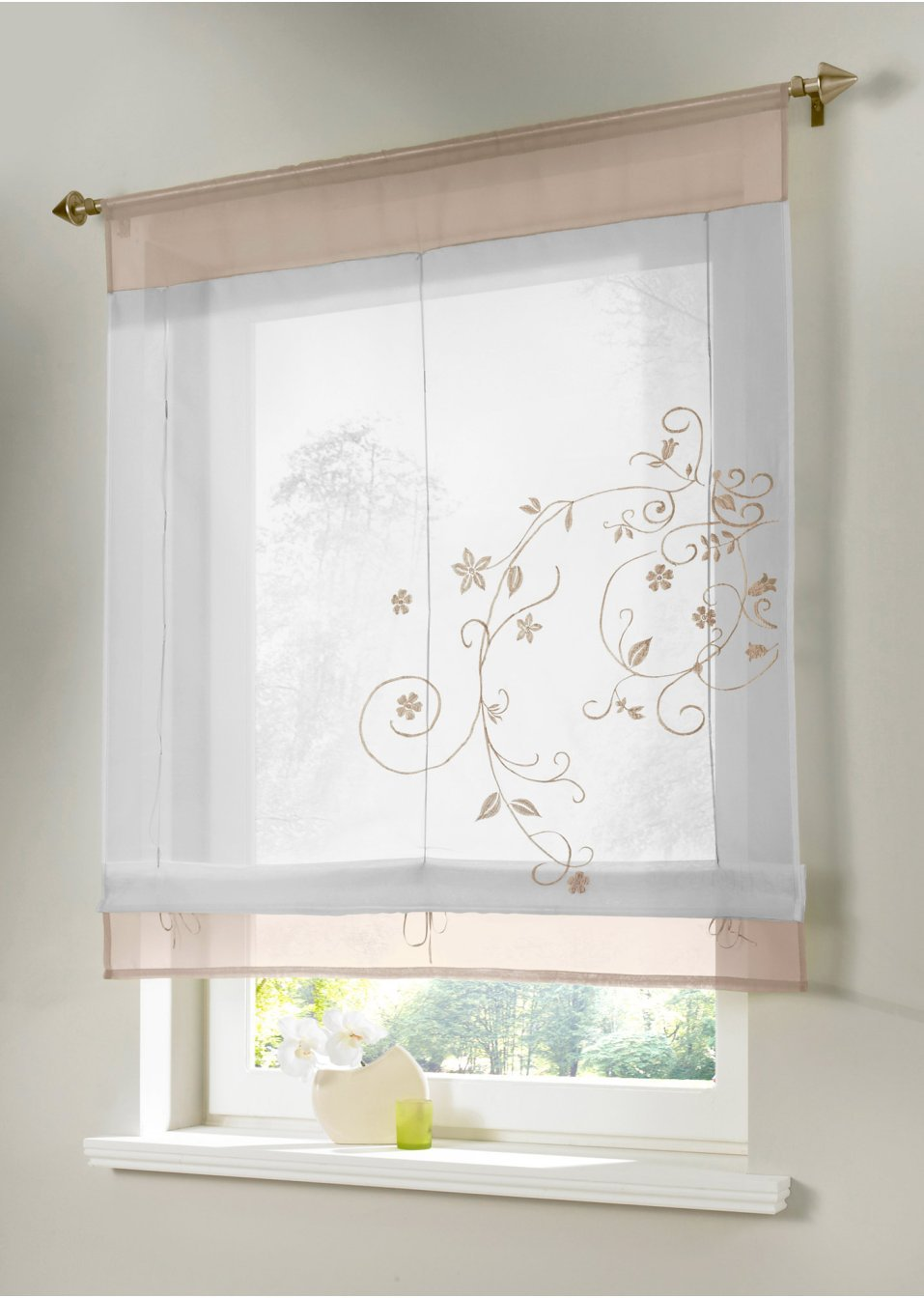 Roller Blinds For Kitchen Aliexpresscom Buy 1pc Embroider Flower Short Sheer Curtains For