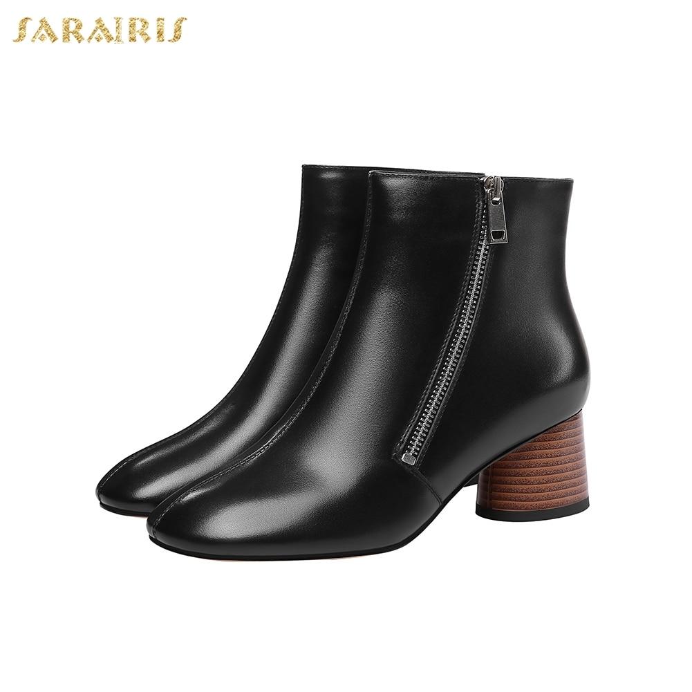Tacón Genuino blanco Negro Venta Nueva Zapatos Vaca Caliente Diseño Cuero Sarairis Alto Botas Cremallera Populares Mujer De F8XxwZqaq