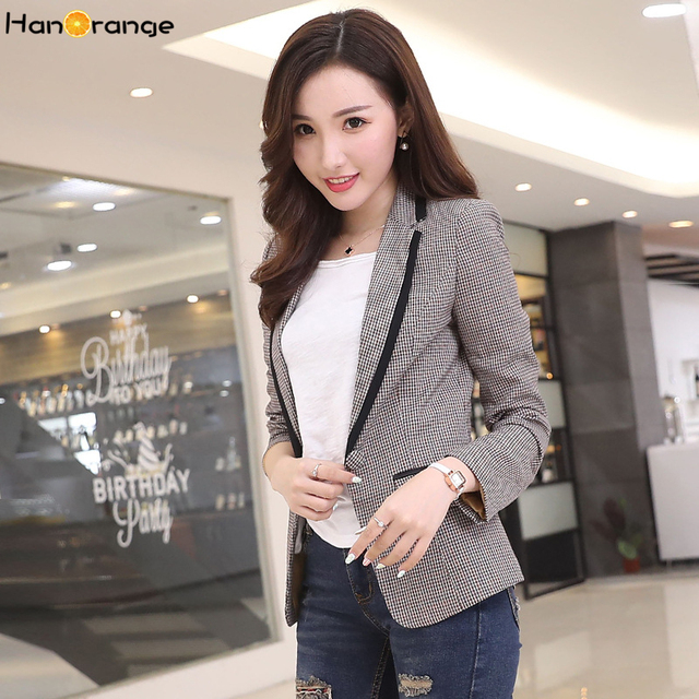 8315ea26cf4 Korean Houndstooth suit new lady suit long sleeved plaid jacket slim YN1719  women in spring and Autumn