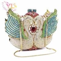 Luxury Women Crystal Swan Clutch Crystal Silver Beaded Bag New Handbags Crystal Clutch Designs Handbags Crossbody Bags YLS A39