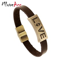 Vintage Retro Pulseira Homens Masculina Couro Male Cool Leather LOVE Graved Bracelet Biker Mens Steampunk Leather