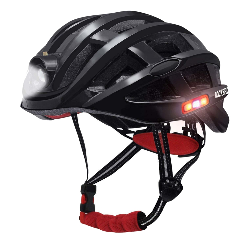 Rockbros Cycling Helmet Size 57 62Cm Helmet With Usb Rechargeable Light Black