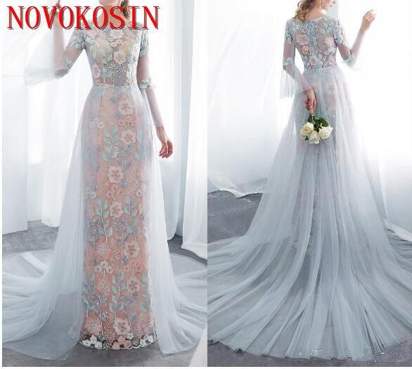 2019 Robe de mariage coloré broderie fleur