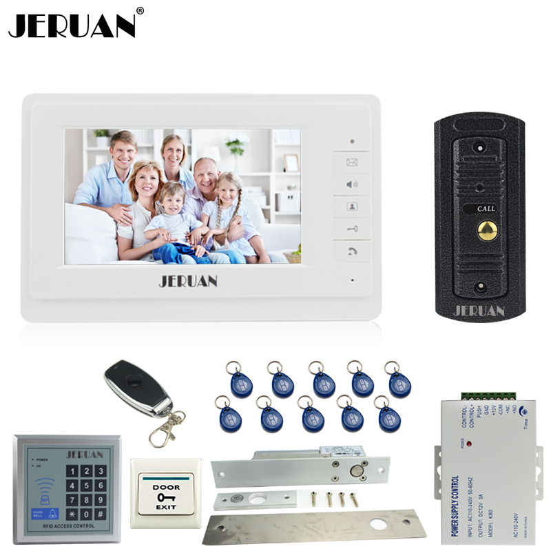 JERUAN Home Doorbell 7 inch Video Door phone Intercom System kit 1 Monitor Full Metal IR Pinhole Camera RFID Access Controller jeruan home 7 video door phone intercom system kit 1 white monitor metal 700tvl ir pinhole camera rfid access control in stock