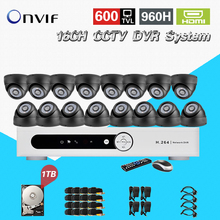 TEATE CCTV security DVR with 1tb hard disk indoor Night vision Camera Kit 16ch Color Video Surveillance System 16 channel CK-219