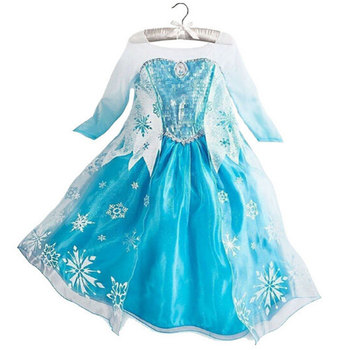 Children One - Piece Child Little Girl Elsa and Anna Princess Mesh Dress Baby Girls Kids Role Play Formal Costume Party Dresses