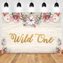 NeoBack Wild One Wood Floor Flower Wall Photography Backdrops Fabric Rustic Floral Wooden Backdrop for Newborn Birthday Banner(China)