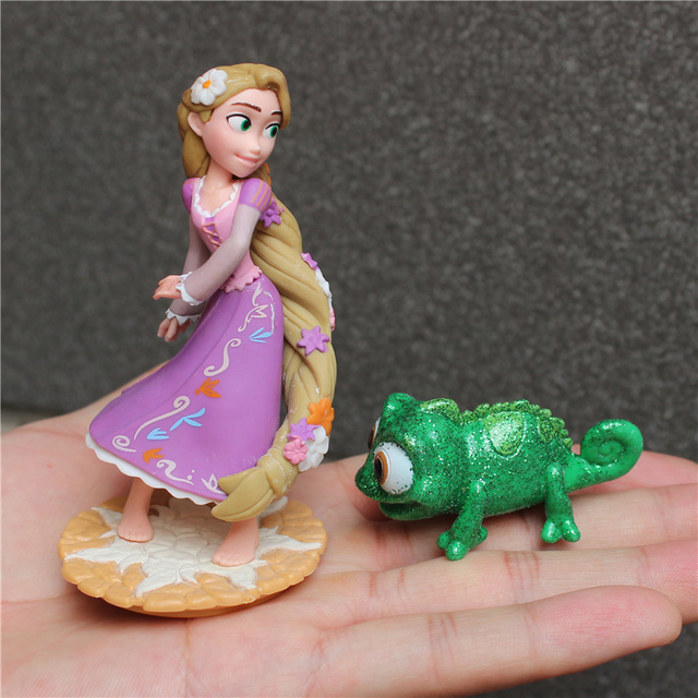 2piece/lot  New Style Tangled Figure toys Chameleon Pascal Green Chameleon and Rapunzel princess figure toys
