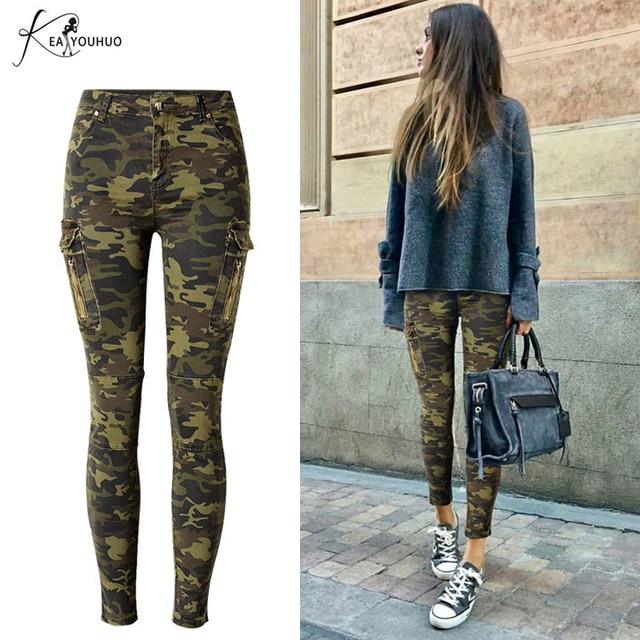 2019 Hiver Crayon Plus La Taille Cargo Jeans Femme Taille Haute Camouflage  Armée Pantalon Pour Femmes 602e63f8560