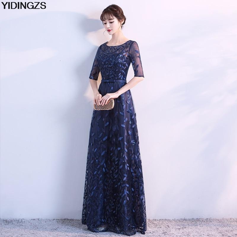 YIDINGZS Robe De Soiree New Navy Blue Half Sleeve Evening Dress Fashion  Leaves Pattern Party Prom Dress-in Evening Dresses from Weddings   Events  on ... cdebdce41347