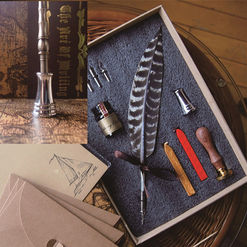 Best Antique Nature Feather Calligraphy Handwriting Dip Pen Set with 2 Wax Seals 1 Stamper 1 Ink 1 Pen Holder 5 Nibs Воск