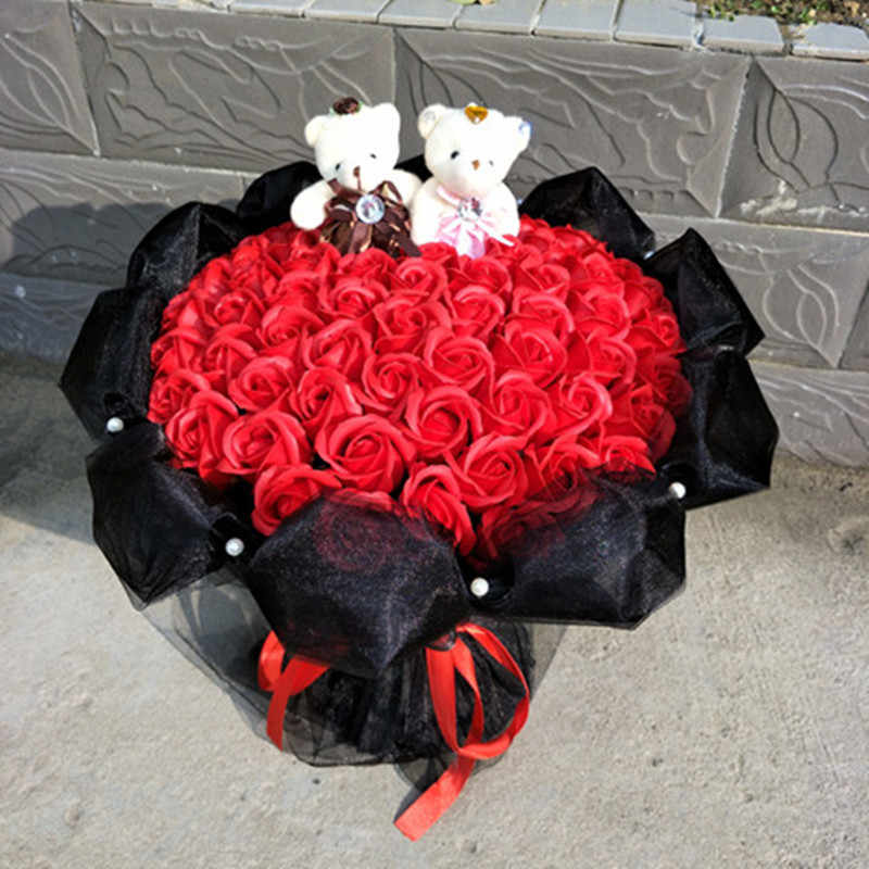 Милый плюшевый медведь кукла игрушки мыло роза свадебное оформление букета подарок для романтического фестиваля Выпускной Рождественский подарок для девочки