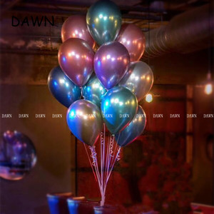 Image 5 - 10pcs/lot New Glossy Metal Pearl Latex Balloons Thick Chrome Metallic Colors Inflatable Air Balls Globos Birthday Party Decor