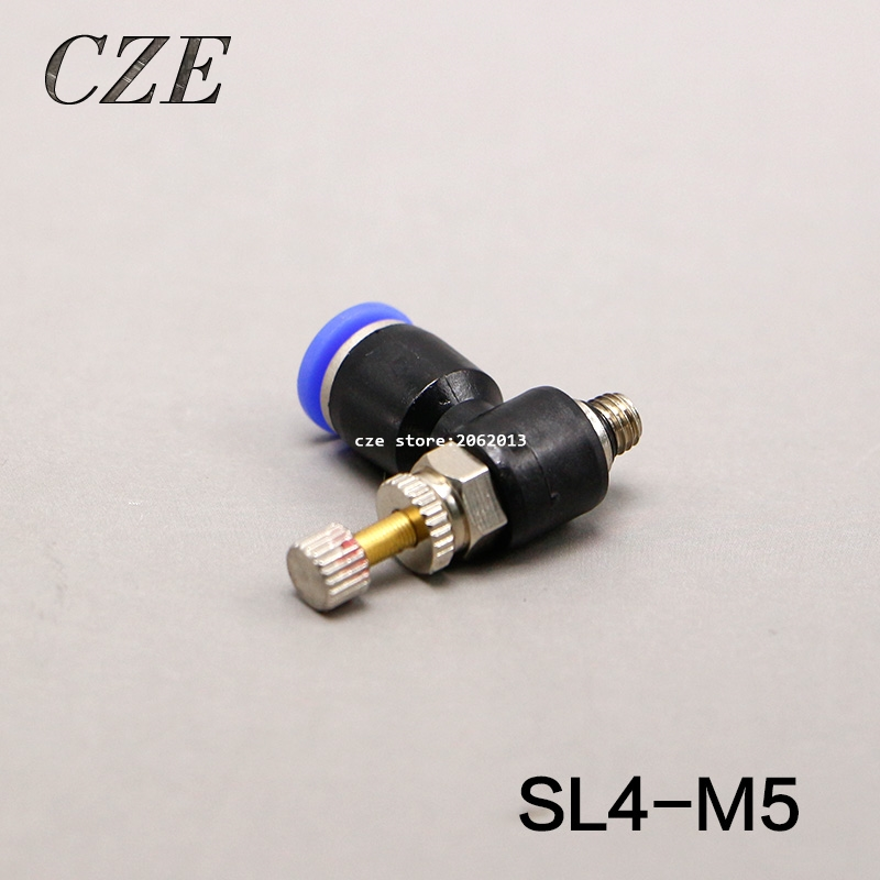 10Pcs/Lot SL4-M5 Thread M5 Pneumatic Throttle Valve Fitting SL Series Pneumatically Quick Connector Exhaust Valve free shipping 10pcs lot pu 6 pneumatic fitting plastic pipe fitting pu6 pu8 pu4 pu10 pu12 push in quick joint connect