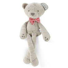 1pcs new cartoon plush toy cute gray bear baby appease doll children sleeping plush doll 42CM high 2 color bow tie for 0M+