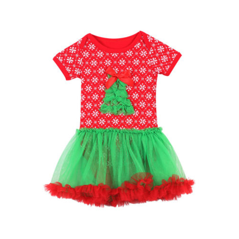 New Style 3D Pattern Xmas Lovely Girls Clothes Christmas Short Sleeve Romper Tutu Dress Jumpsuit Outfit Baby Clothing 0-24M