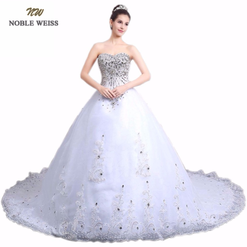 NOBLE WEISS In Stock Sweetheart Beading Crystal Appliques Lace-up Back A-Line Wedding Dresses Cathedral Train Bridal Dress