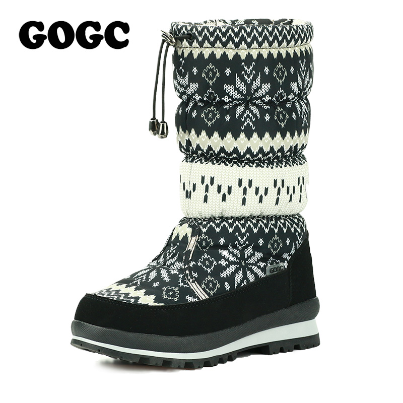 GOGC Russian Famous Brand Winter Boots for Women High Quality Warm Flower Women's Winter Shoes Female Snow Boots Women's Shoes