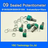 Envío Gratis 6valuesx5 piezas = 30 piezas 09 sellado potenciómetro B10K B20K B50K B100K resistencias variables