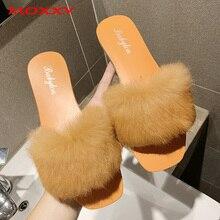 2019 New Women's Furry Slippers Ladies Plush Fluffy Slipper Women Fur Slipper Winter Flat House Home Indoor Slippers Women Slide недорого