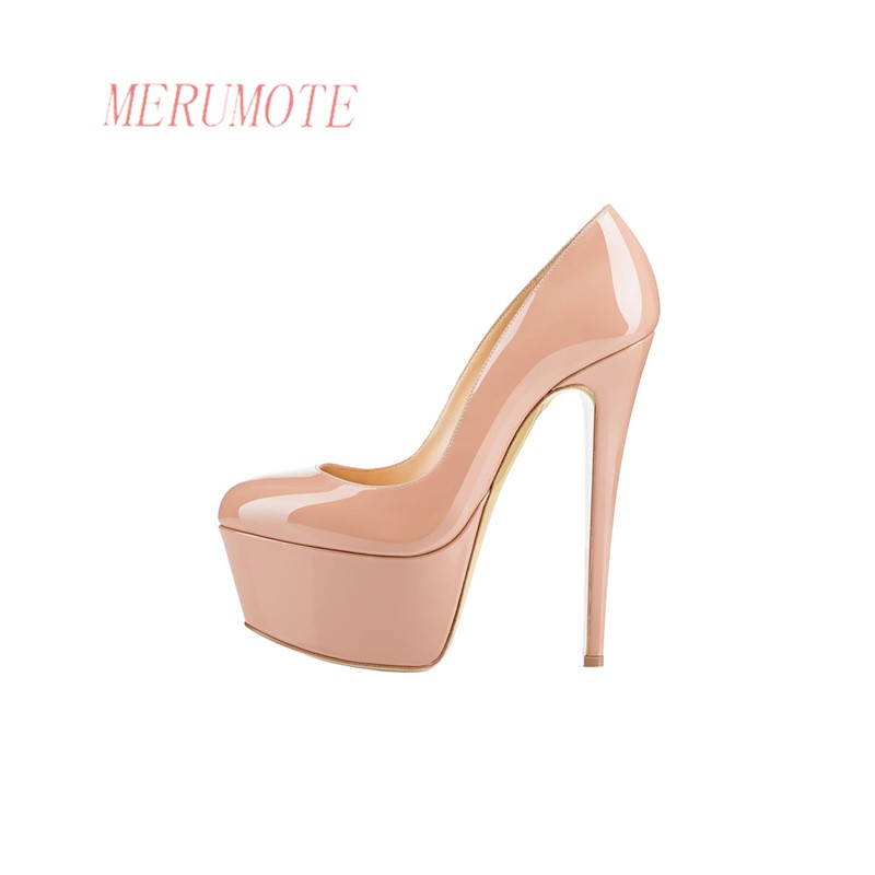 24bfed36255 US $109.99  MERUMOTE Women's J 1556 Classic Round Toe Platform Thin High  Heels Lady Wedding Party Dress Pumps Shoes-in Women's Pumps from Shoes on  ...