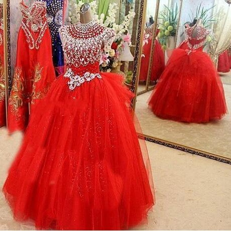 Puffy   Flower     Girl     Dresses   Red Tulle   Girls   Party Gowns vestido infantil festa Communion   Dress   For   Girl   Ivory vestido daminha