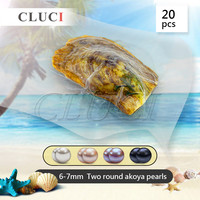 Funning Gift 6 7mm Akoya Double Pearl In Oyster 20pcs