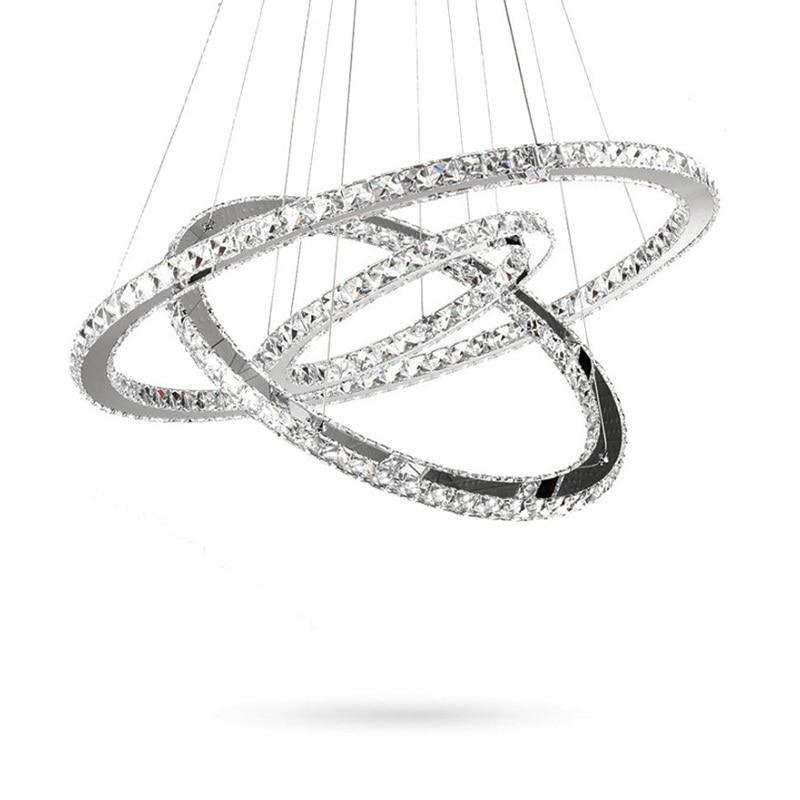 Modern K9 Crystal Rings Chandeliers Lights LED Ceiling Fixture Living Dining Room Lamp Restaurant Design Hanglamp Lustre Cristal
