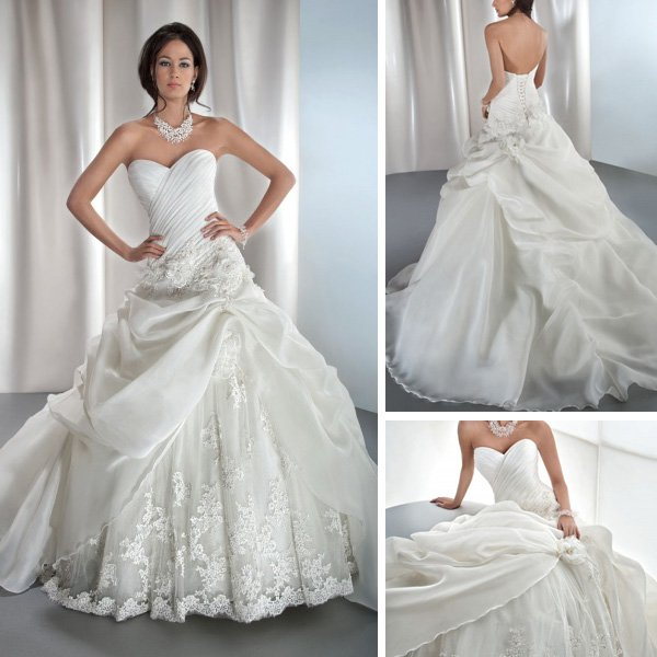new fashion appliqued ivory lace organza sweetheart ball