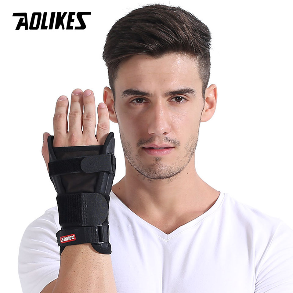 AOLIKES 1PCS Hand Wristbands Adjust Wristband Steel Wrist Brace Wrist Support Splint Fractures Carpal Tunnel Sport Sprain