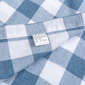 Image 5 - Chemises Standard anglaises en coton, carreaux, à manches longues, poche simple à Patch, chemise rayée, de Style anglais, décontracté