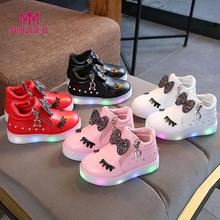 Kids Baby LED Boots Shoes Sneakers Butterfly knot diamond Little white shoes #EW