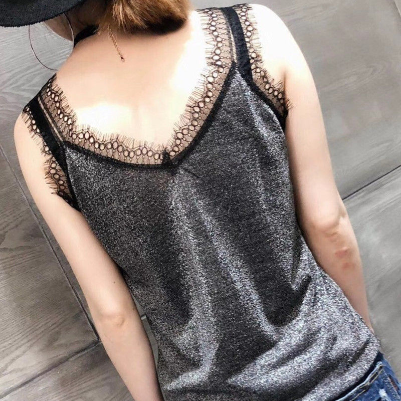 women clothing women T shirts women tees sleeveless v-neck t shirts sexy tees knitted european clothing high elastic 2