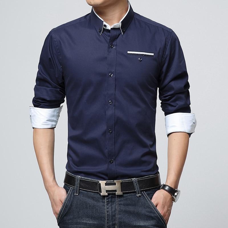 Plus size 5xl 2016 new mens dress shirts long sleeve lapel for Mens dress shirts sizes