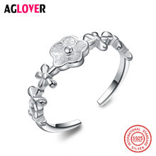 Genuine 925 Sterling Silver White Flower Rings for Women Lover Party Wedding Gift Ring Jewelry thaya facing the sea rings blue zirconia rings 925 silver jewelry for women lover wedding gift