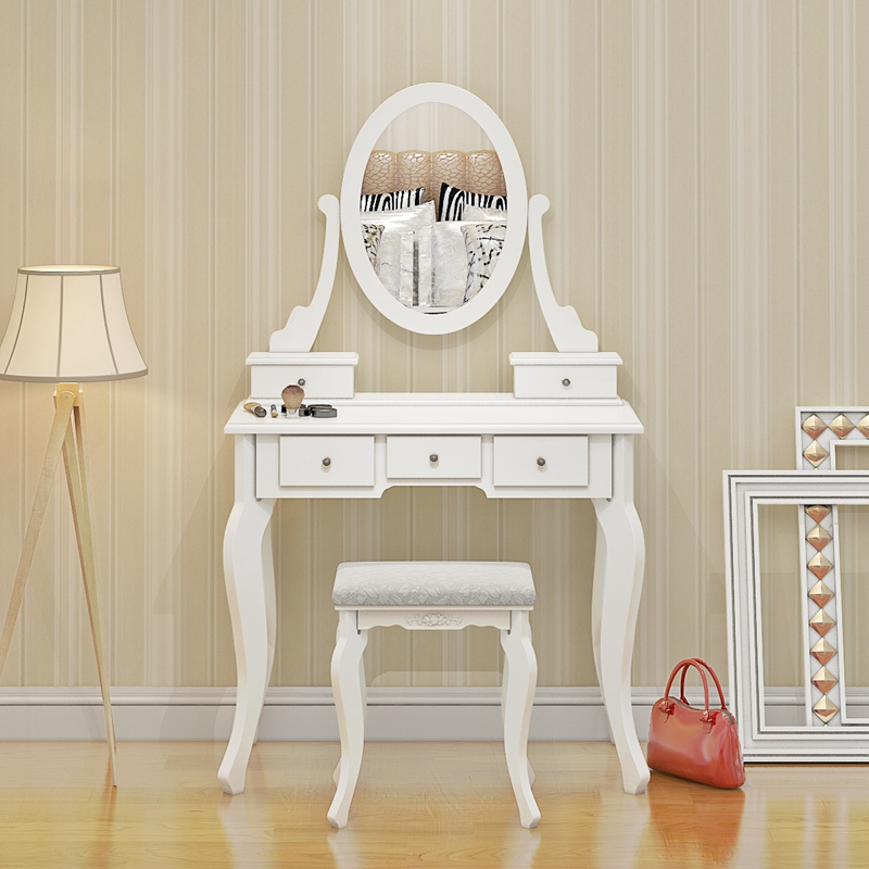Wooden Dressing Table Makeup Desk With Stool Oval Mirror 5 Drawers