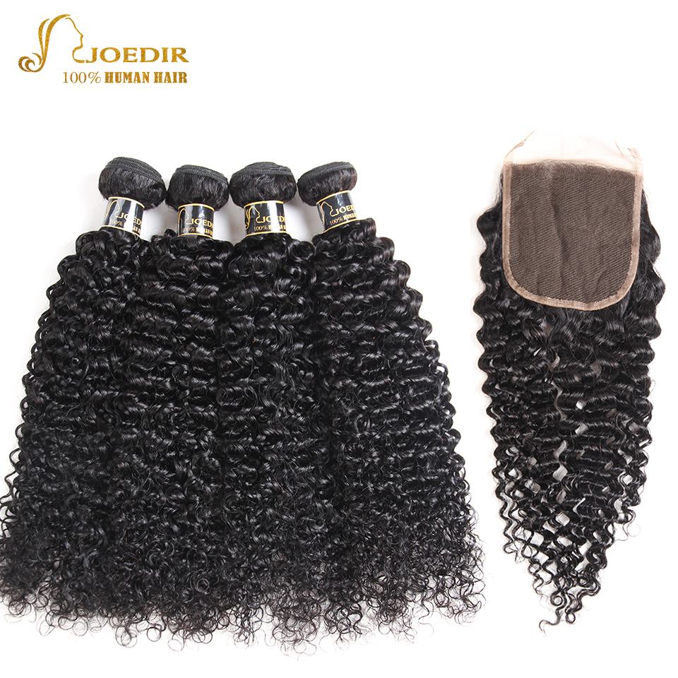 Joedir Pre Colored Brazilian Human Hair Bundles With Closure Human Hair 4 Bundles With Closure Curly Hair With Closure Baby Hair