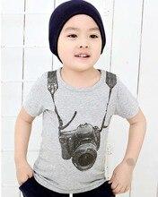 Baby Toddler Baby Boys Gray T shirt Casual Camera Print Short Sleeve T-Shirt Summer Tops
