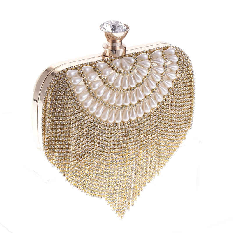 Evening Bags Diamond Rhinestone Pearls Beaded Day Clutch Women's Purse Handbags Wallets Evening Wedding Bag for Party Purses