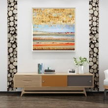 Modern Orange Abstract Gold Foil Stars Canvas Painting European Style Wall Art Posters Prints Picture for Living Room Home Decor