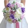 2016 Más Nuevo de La Vendimia Artificial Ramos de Novia Con Cintas De Novia Ramo de Flores de La Boda Ramos de Flores Broche de Cristal De Mariage