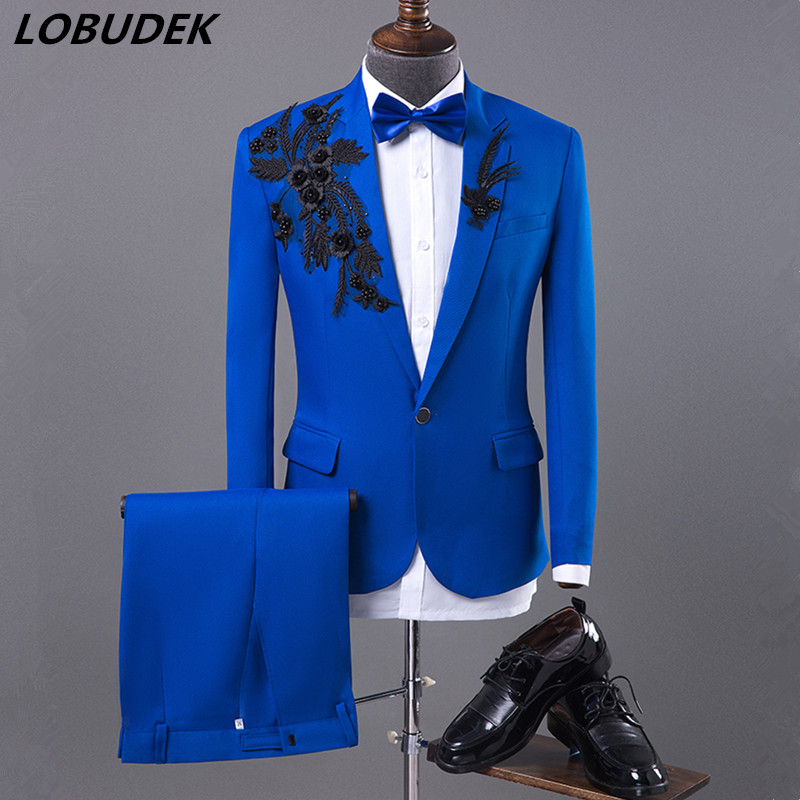 Mens Formal Suits Blue fashion Slim Blazers Group musical performance Costume Wedding Party Prom Host singer show Stage suit
