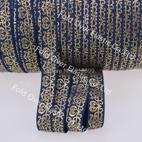 100Y wholesale factory direct gold foil fold over elastic ribbon, custom print 5/8 Navy elastic ribbon/gold metallic damask